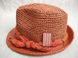 Точной Crocheted шлем сторновки Fedora полосы оплетки рафии зашитый сторновкой широкий