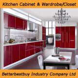 Gabinete de cozinha 2016 lustroso elevado moderno para a mobília Home