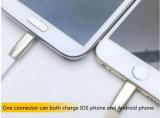 iPhone와 인조 인간 데이터 케이블을%s 가진 1 USB에 대하여 2