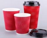 Дешевая подгонянная пульсация/гофрирует бумажные стаканчики кофеего/кафа стены с крышкой
