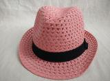 Sombrero de paja cosido color rosado del sombrero de ala de la trenza