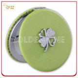 Specchio su ordinazione del compatto del cuoio di figura del cerchio con fascino del metallo