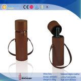 Boîte en cuir individuelle à vin de tube rond simple de bouteille (5728R22)