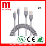 Câble de remplissage tressé en nylon du câble USB de foudre de 8 bornes avec l'aluminium pour l'iPhone