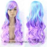 El nuevo estilo de Lolita Cosplay del gradiente de la manera larga peluca de pelo rizado
