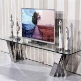 Stand du modèle moderne TV avec les meubles clairs de maison de dessus en verre Tempered