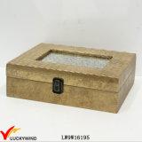 Da caixa de madeira Champaign antiga do ouro do vintage caixa de jóia pequena