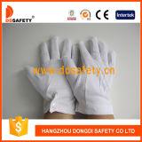 Algodón del blanqueo del 100% o guante de trabajo del dispositivo de seguridad con los mini puntos en la palma Dch113