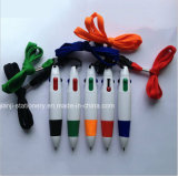 Plastic Ballpoint 4colors met Rope