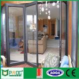 Porta dobrável de vidro de alumínio padrão europeu com tela