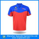 100%Polyester赤いカラー高品質メンズカスタムポロシャツ
