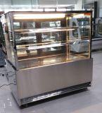 Edelstahl-unterer rechtwinkliger Glastür-Kuchen-Schaukasten mit 2 Regal-Kuchen-Bildschirmanzeige-Schaukasten