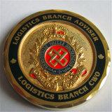 다이아몬드 가장자리와 인쇄 로고를 가진 금 기념품 동전
