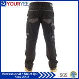 Pantalon noir fait sur commande de travail pour les hommes avec la garniture de genou (YWP112)