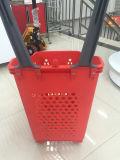 Корзина для товаров роскошного супермаркета пластичная с колесами