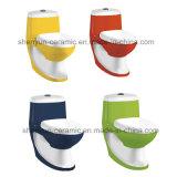 Lavage à grande eau d'une seule pièce en céramique de toilette de couleur de toilette (A-028)