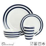 [16بكس] خزف عشاء مجموعة مع زرقاء ملصق مائيّ شريط ونقطات تصميم