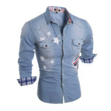 2016 inverno Newest Keep Warm Denim Shirt per Men