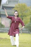 Ropa oblicua del collar del lino chino del resorte de la ji del Tai del Taoism y de Han del verano