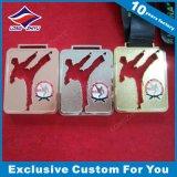 Médaille élevée en gros en métal de Taekwondo d'en cuivre d'argent d'or de Quanlity