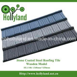 Azulejo de azotea de acero revestido de piedra coloreado (tipo de madera)