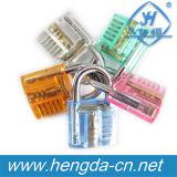 Yh9248 Cadeado transparente colorido com 2 chaves