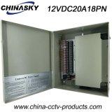 bloc d'alimentation 12V enfermé dans une boîte par 18channels pour la télévision en circuit fermé Camers (12VDC20A18PN)