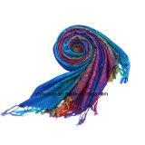 女性の柔らかいファブリックフリンジのスカーフプリントカラー