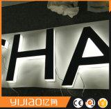 Het naadloze Embleem van Lit van de Halo van de Brief van het Roestvrij staal Openlucht Achter
