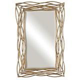 長方形の旧式な光沢がある金によって組み立てられる壁装飾的なミラー