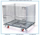 Folding Aço Wire Mesh Pallet Container para armazenamento armazém