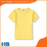 순수한 색깔 둥근 고리 면 t-셔츠를 입어 아이들