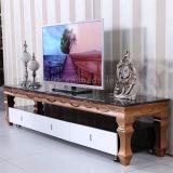 رفاهيّة ملكيّة صوّان تلفزيون حامل قفص مع إطار ذهبيّة