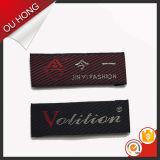 Escritura de la etiqueta barato tejida de encargo del diseño del doblez conocido privado de lujo del extremo