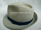 100%년 폴리에스테 끈목에 의하여 꿰매어지는 끈목 중절모 밀짚 모자