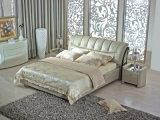 Кровать кожи рамки 2017 кроватей роскошного типа евро классицистического мягкая