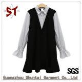 Nuovo vestito dolce originale dalla signora Shirt Collar Long Sleeve per due Pices
