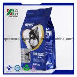 Sachet en plastique d'aliment pour animaux familiers de fond plat avec la première tirette rescellable