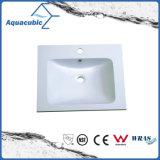 浴室の虚栄心のカウンタートップのPolymarbleの洗浄手の正方形の洗面器