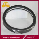 Coperchio d'argento in bianco e nero del volante del cuoio della fibra del carbonio
