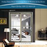 新しいデザイン装飾的な二重層のガラスパネル内部アルミニウムハングの引き戸