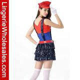 Usager de Veille de la toussaint brillant le costume sautant de Cosplay de plombier de bloc de Mario pour des femmes