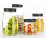 Tarro de vidrio de utensilios de cocina Mattte Cap 900ml, 1300ml, 1700ml