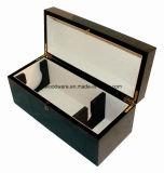 Hoog polijst Vakje van de Gift van de Verpakking/van de Presentatie van de Wijn van de Afwerking het Houten