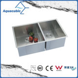 Double bassin de cuisine fabriqué à la main d'acier inoxydable de cuvette d'UPC (ACS 3320A2)