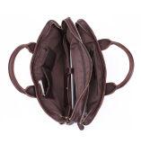 Cartella durevole del sacchetto di spalla del cuoio del vino rosso dell'annata per gli uomini