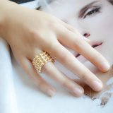 十分に金カラー簡単で広い金属のリングの方法宝石類とパンク