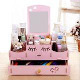 Caixa cosmética Desktop de madeira da alta qualidade DIY, caixa de armazenamento Desktop Eco-Friendly