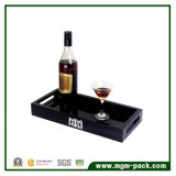 Elegant Hight Glossy Black Laceded Wooden Tray for Hotel