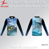 Camisas 2017 coloridas da pesca T do Sublimation da tintura de Healong do desgaste da pesca